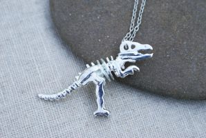 Silver T-rex Skeleton Necklace by MonsterBrandCrafts
