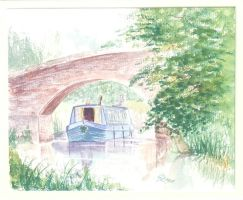 Canal Bridge water colour by meeart
