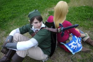 Skyward Sword Link and Zelda 2 by Injectable