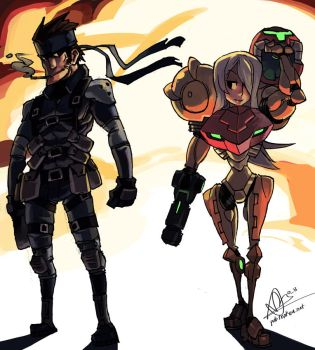 Samus and Snake by oh8