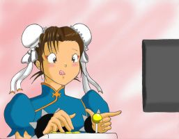 Chun-Li Playing by Anime-Ray