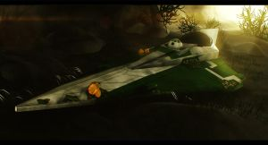 Star Wars Jedi Starfighter in a Cave 3D Commission by AdamKop