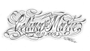 chicano lettering calina marie by 2Face-Tattoo
