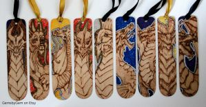 Metallic and glitter dragon bookmarks by BumbleBeeFairy