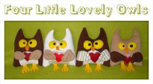 Four Little Lovely Owls by Lavenderwitch