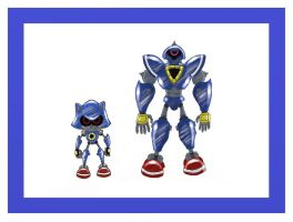 Metal Sonic and modern swatbot by funkyjeremi