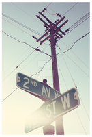 Power lines, Street signs. by MyDefaultAdoration