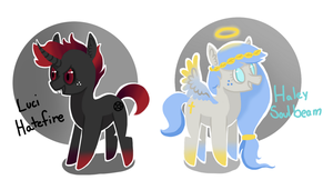 Pony Adoptables: Heaven vs Hell CLOSED by JellyBeanBullet