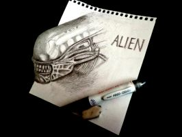 3D Drawing - ALIEN [ H.R.Giger Tribute ] by NAGAIHIDEYUKI