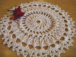 7 Inch Round Highly Textured Doily in Beige by doilydeas