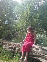 Sitting on log girl in red by EmKins-Resources