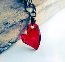 SOLD - Swarovski Red Magma Heart Crystal Necklace by crystaland
