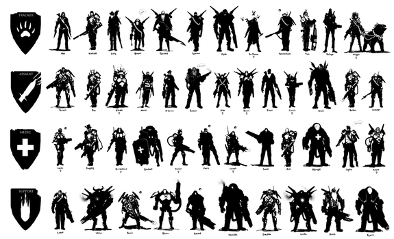 Evolve Character Silhouettes by ScottFlanders