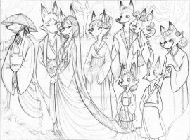 Kitsune Wedding Linework by SankofaRida
