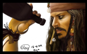 Old Jack Sparrow digital drawing by FireLioness