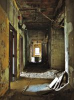 Abandoned Nursing Home: Collapsing Hallway by lunamisangelique