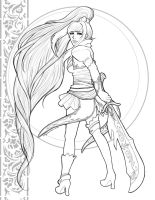 Guild Wars 2 Character Design Lineart by OtakuEC