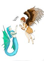 Mermaid And Bird Girl by LilMissBlueJay