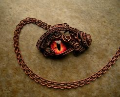 Custom Pendant - Smaug Inspired Dragon Eye Wire by LadyPirotessa