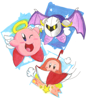 Kirby, Meta Knight and Waddle Dee by BunnyZiegs