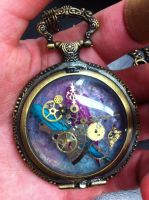 Steam punk pocket watch necklace by dark7days