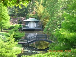 Japanese Tea House and Bridge by ModernDayAlice
