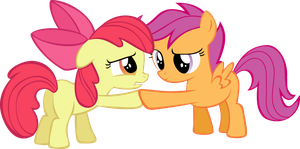 Scootaloo helping a pleading Apple bloom vector by Pangbot
