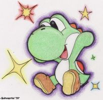 Yoshi with stars by Boltonartist