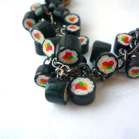Sushi bracelet - black chain by drrtymagic