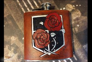 Garrison Leather Flask Attack on Titan by aGrimmDesign
