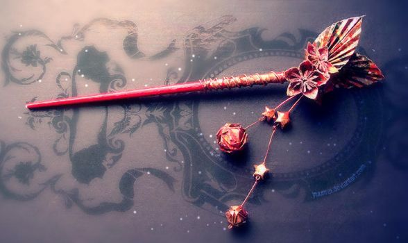 Origami hair-chopstick by yuumei