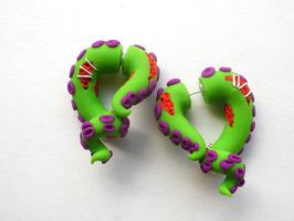 Zombie Tentacle Earring Fake Gauge by cashewed-almonds