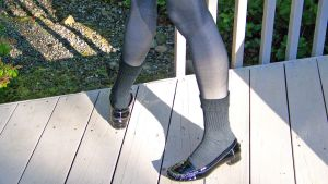 Black Patent Penny Loafers, Gray Socks and Tights by peerlesspenny