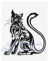 Sitting Cat Tribal Tattoo by Avestra