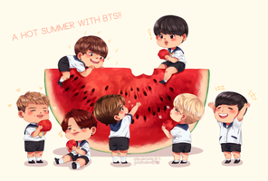 A hot summer with BTS! by rainiemallow