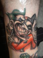 Joker + Quinn tat I did on me by RaiderP