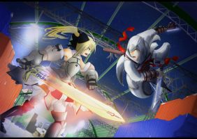 Saber vs Altair by BloodyBlack1234