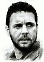 Russell Crowe in 'Gladiator' pencil drawing by TAFOXART