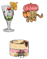 Cats, cakes and...a drink by Lmih