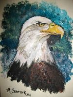 Bald Eagle on Wood by MoonlightLuna