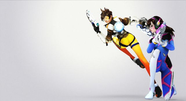 Tracer X D.va - Overwatch (wallpaper) by Shylock7