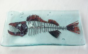Fish Skeleton Plate by trilobiteglassworks