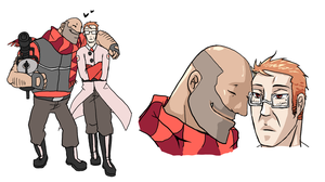 TF2 OC Medic and Heavy c by seueneneye