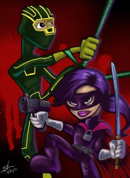 Kick Ass + Hit Girl by scruffyzero
