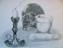 Candle skull pestal and mortar by chrisravensar