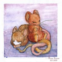 Two Sleeping Mice by Amarathimi