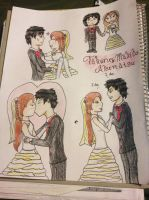 Takeru and Makiko's Wedding Doodles by MewStar13