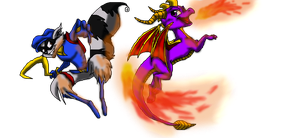 Sly Cooper and Spyro the dragon by Ask-Sly-Cooper