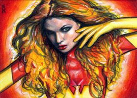 Dark Phoenix Sketch Card 2 by veripwolf