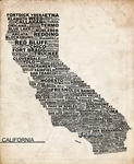 California: typograhic map by Lendak